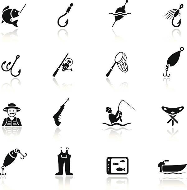 angeln icon-set - angelurlaub stock-grafiken, -clipart, -cartoons und -symbole