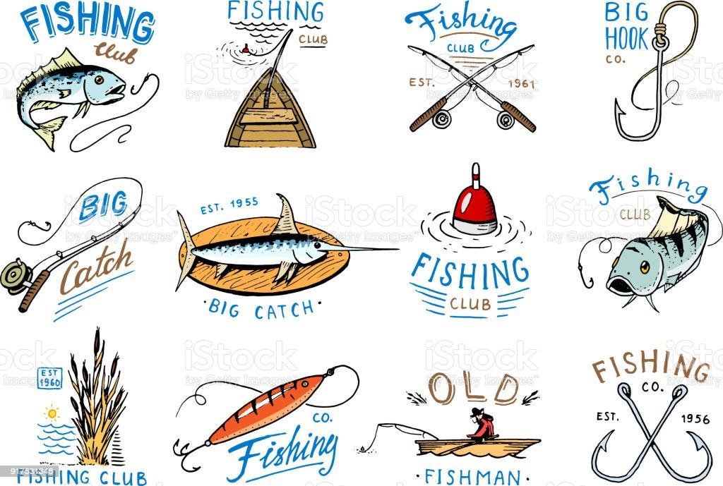 Fishing icon vector fishery icontype with fisherman in boat and emblem with catched fish on fishingrod illustration set for fishingclub isolated on white background - Grafika wektorowa royalty-free (Archiwalny)