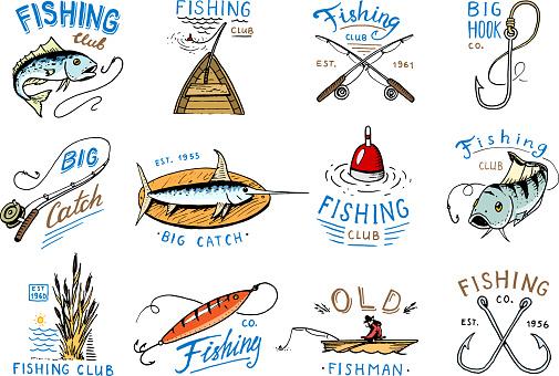 Fishing Icon Vector Fishery Icontype With Fisherman In Boat And Emblem With Catched Fish On Fishingrod Illustration Set For Fishingclub Isolated On White Background - Stockowe grafiki wektorowe i więcej obrazów Archiwalny
