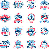 Fishing icon vector fishery icontype with fisherman in boat and emblem with fished fish for fishingclub illustration set isolated on white background.