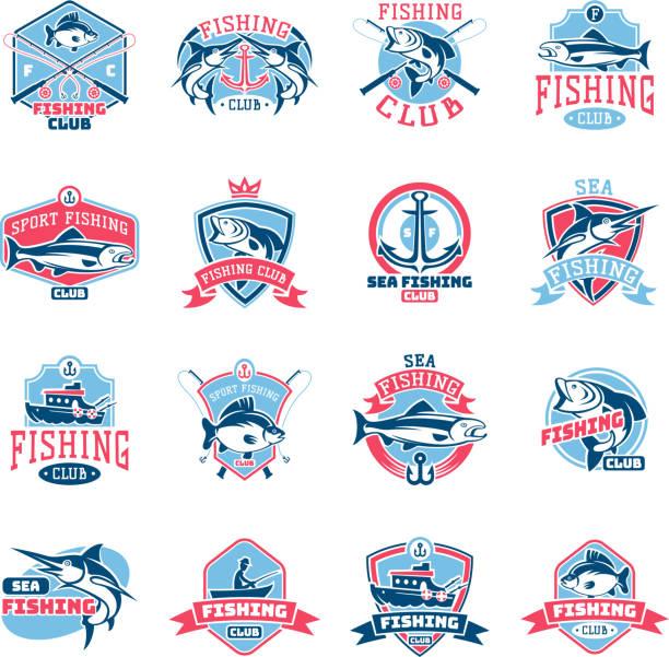 ikona połowów wektorowy ikona rybołówstwa z rybakiem w łodzi i godło z ryb poławiał na wędkarstwoko ilustracja zestaw izolowane na białym tle - rybactwo stock illustrations