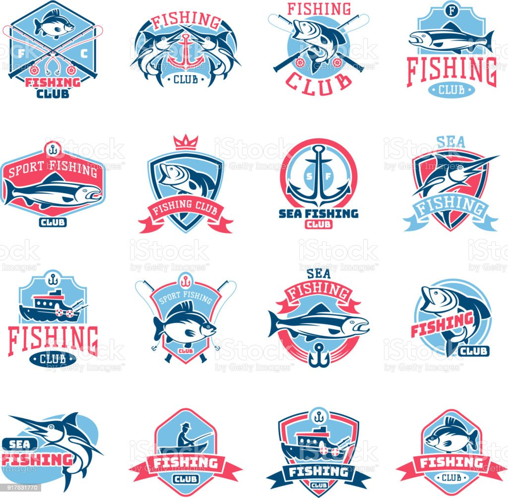 Fishing icon vector fishery icontype with fisherman in boat and emblem with fished fish for fishingclub illustration set isolated on white background vector art illustration