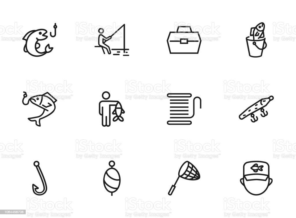 Fishing icon vector art illustration