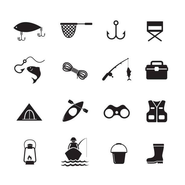 ikona aplikacji wędkarstwo - rybactwo stock illustrations