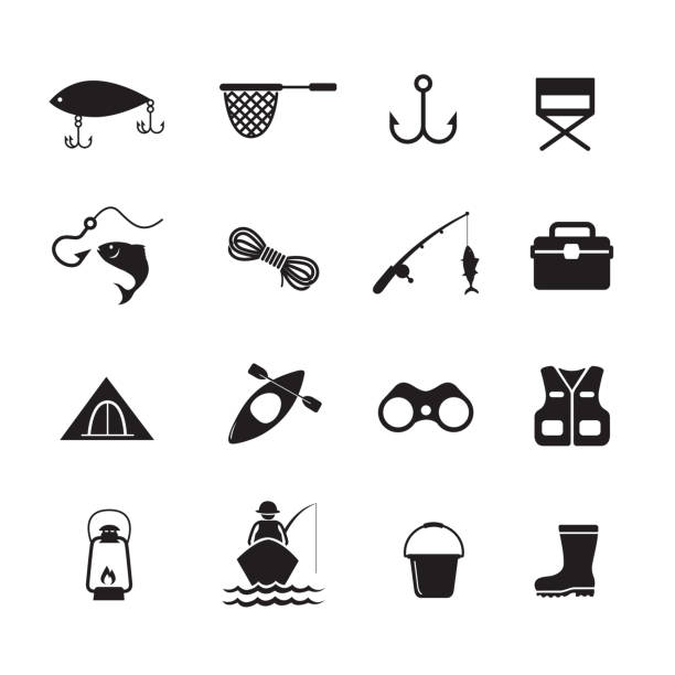 Fishing icon Fishing icon, set of 16 editable filled, Simple clearly defined shapes in one color. Vector fishing stock illustrations