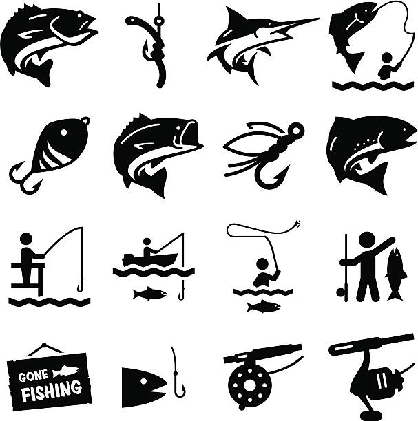 bildbanksillustrationer, clip art samt tecknat material och ikoner med fishing icons - black series - fish
