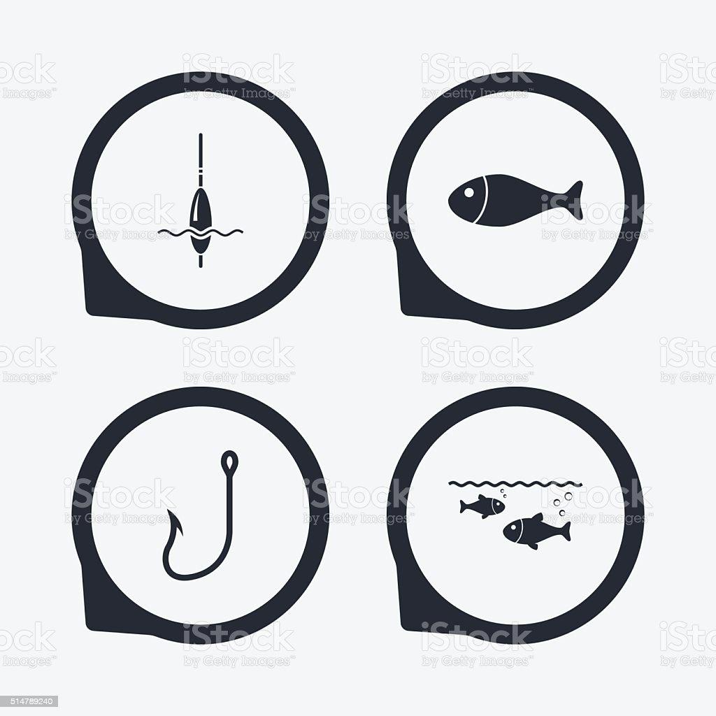 Fishing icons. Fish with fishermen hook symbol. vector art illustration