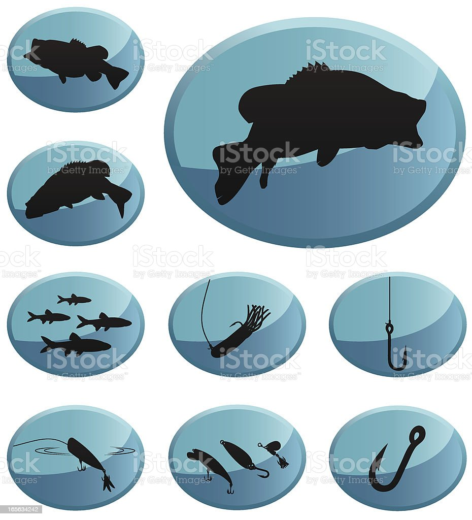 Fishing Icons: Largemouth & Smallmouth Bass vector art illustration