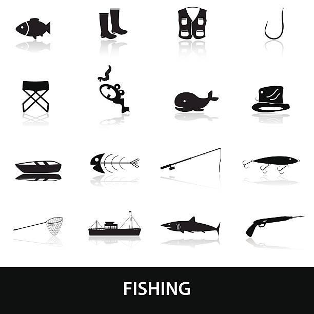 angeln icons set eps10 - haifischköder stock-grafiken, -clipart, -cartoons und -symbole
