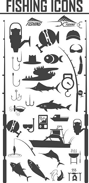 angeln icons set - angelurlaub stock-grafiken, -clipart, -cartoons und -symbole