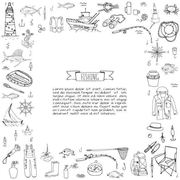 Fishing icons set vector art illustration