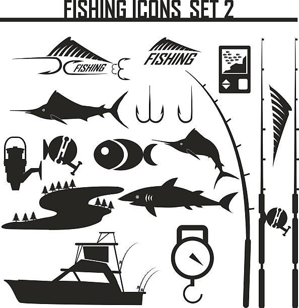 angeln symbole set2 - angelurlaub stock-grafiken, -clipart, -cartoons und -symbole