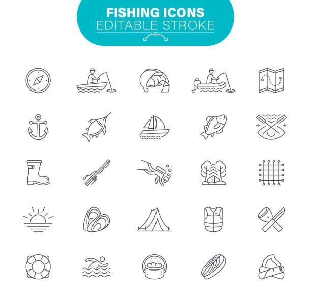 ikony wędkarstwa - rybactwo stock illustrations