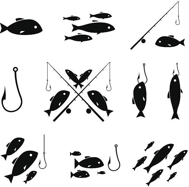 połowów ikony - rybactwo stock illustrations