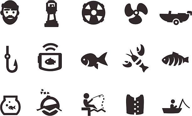 ilustrações de stock, clip art, desenhos animados e ícones de ícones de pesca - aquacultura