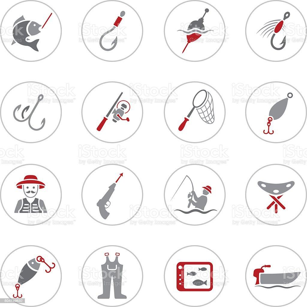 Fishing Icons vector art illustration