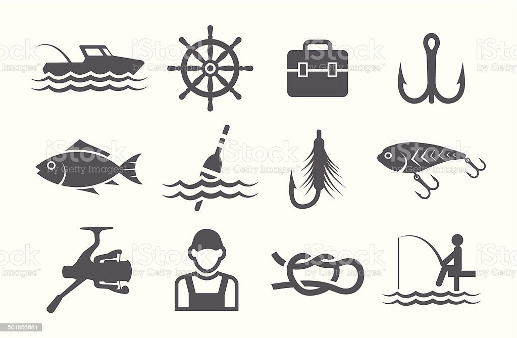 Fishing icons vector art illustration