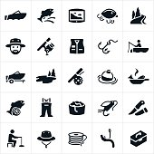 An icon set of fishing related themes. The icons include fisherman, fish, fishing, fishing boat, fish finder, fishing lures, bait, worms, river, lake, fishing pole, fishing vest, hook, fly rod, bobber, cooking fish, waders, fishing fly, knife, ice fishing, fisherman hat, fishing line and tackle box to name a few.