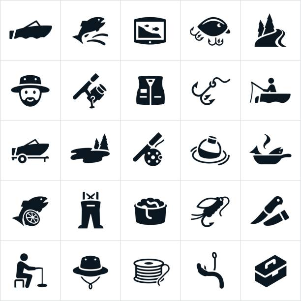 Fishing Icons An icon set of fishing related themes. The icons include fisherman, fish, fishing, fishing boat, fish finder, fishing lures, bait, worms, river, lake, fishing pole, fishing vest, hook, fly rod, bobber, cooking fish, waders, fishing fly, knife, ice fishing, fisherman hat, fishing line and tackle box to name a few. fishing line stock illustrations