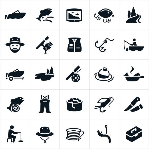 ilustraciones, imágenes clip art, dibujos animados e iconos de stock de iconos de pesca - pesca