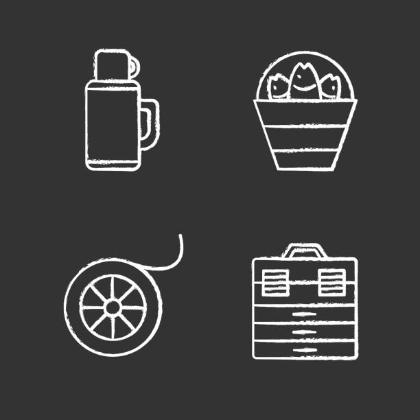 Fishing icons Fishing chalk icons set. Vector. Bucket with catch, thermos, fishing line spool, tackle box drawing of a glass liquor flask stock illustrations