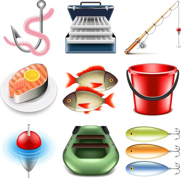 Fishing icons vector set vector art illustration