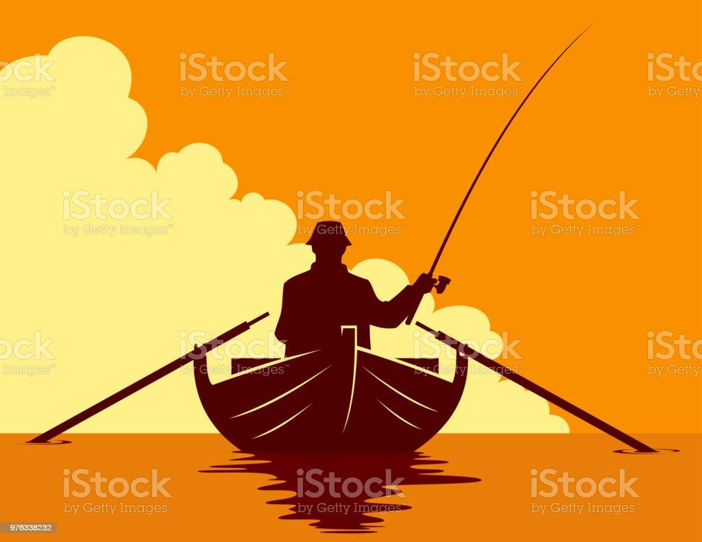 Pêche en bateau au coucher du soleil - Illustration vectorielle