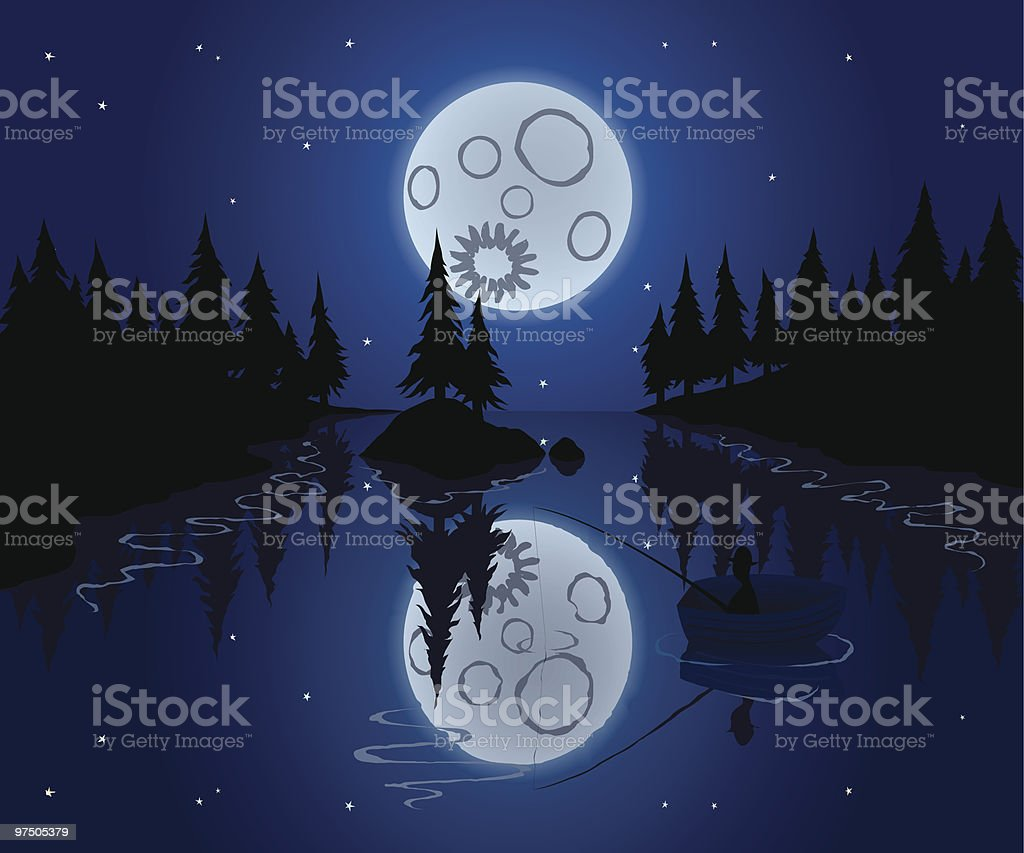 Fishing in Moon Light royalty-free fishing in moon light stock vector art & more images of adult