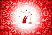 Fishing in the Snow Red Christmas Holiday Background. The main focus of this vector illustration is the red icon which is placed in the center inside a white circle. The background is red and is filled with a festive Christmas holiday pattern. The pattern includes popular Christmas holiday icons and greetings. The composition creates a seamless pattern and is perfect for winter holiday themes.
