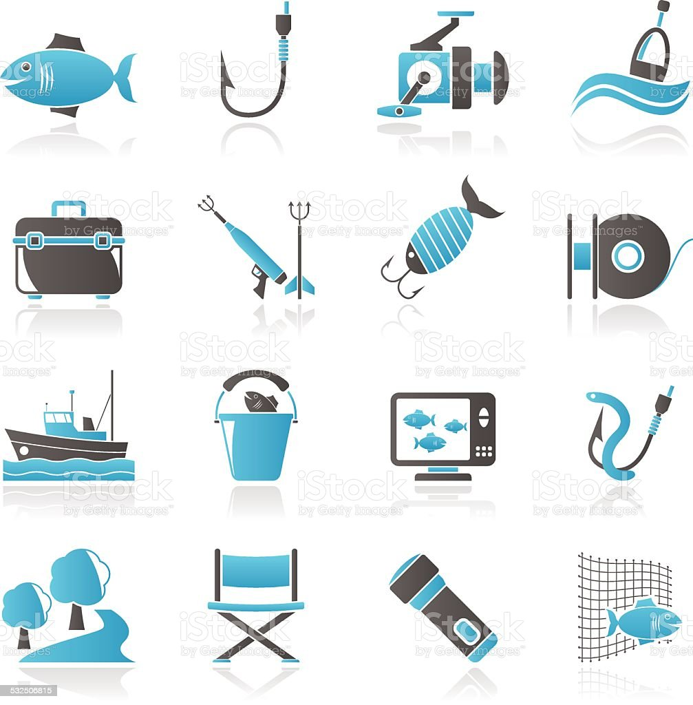 Fishing industry icons vector art illustration