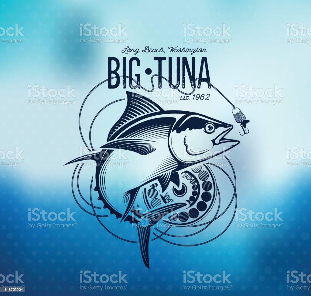 Fishing labels, badges, emblems and design elements. Illustrations of Tuna vector art illustration