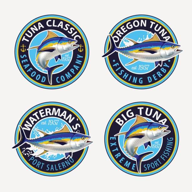 Fishing labels, badges, emblems and design elements. Illustrations of Tuna. vector art illustration