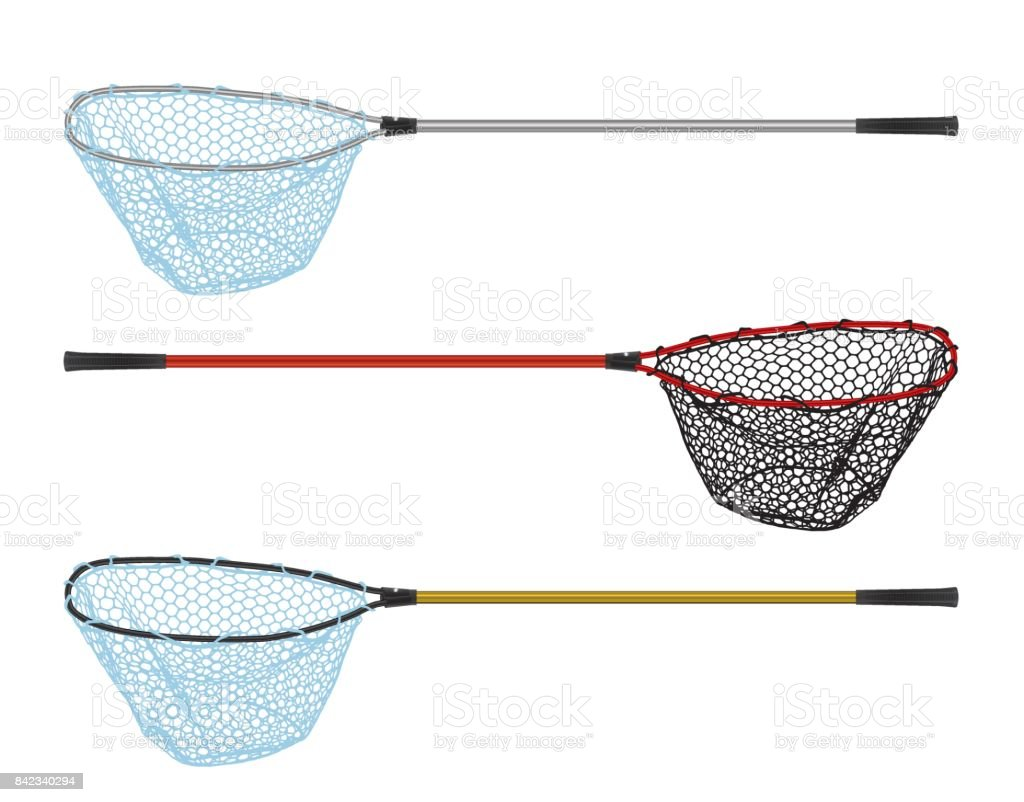 Fishing Landing net isolated on white vector art illustration
