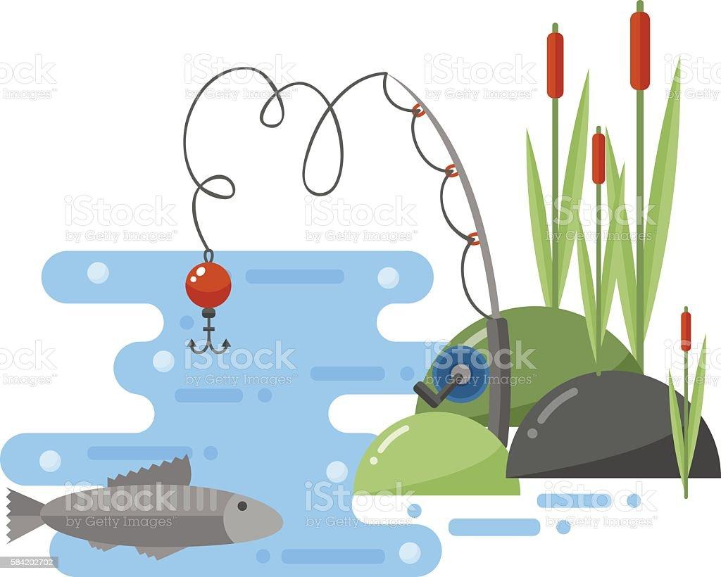 Fishing landscape vector iillustration. vector art illustration