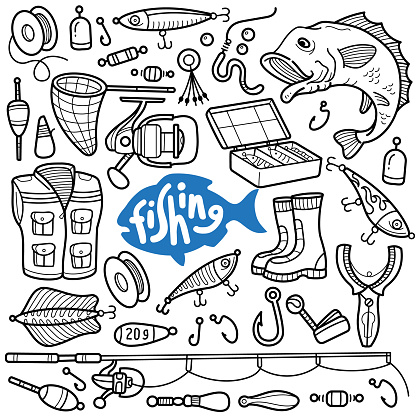 Fishing Leisure Activity Doodle Illustration