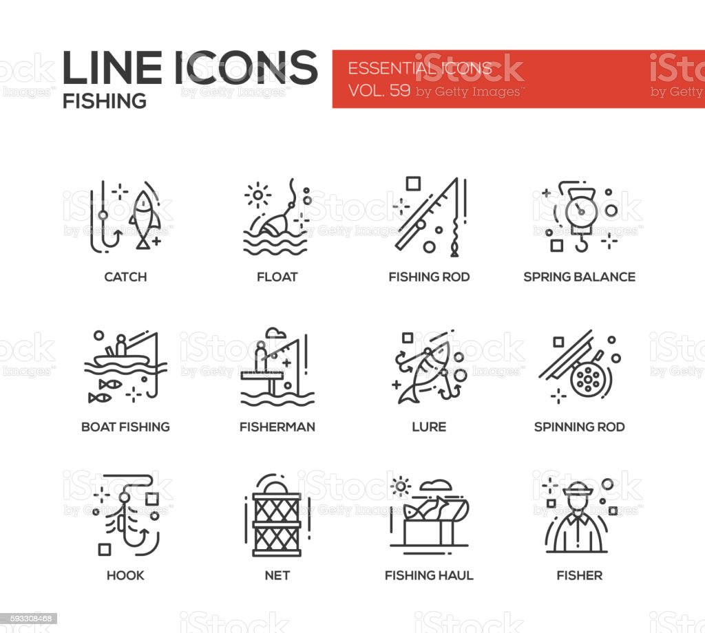 Fishing - line design icons set vector art illustration