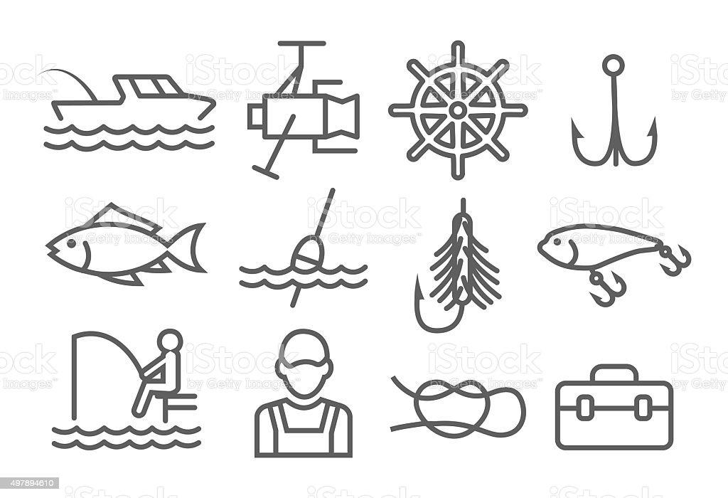 Fishing Line Icons vector art illustration