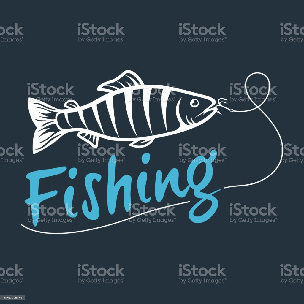 fishing logo isolated on a dark background vector art illustration