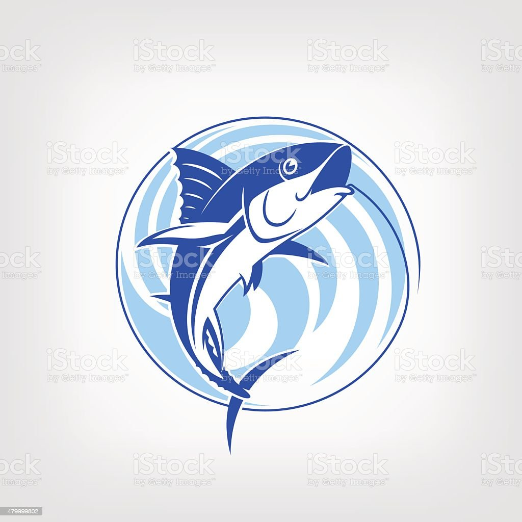 Fishing logo template - Tuna vector sign. vector art illustration