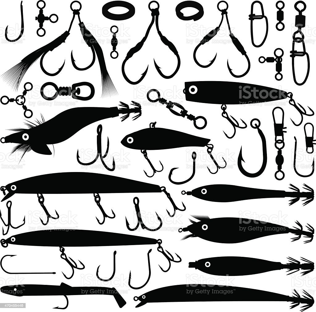 Fishing lure silhouettes vector art illustration
