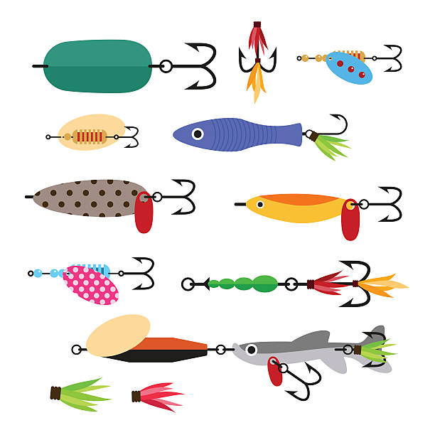 Fishing lure vector set. Fishing tools illustration. Fishing lure vector set. Fishing tools illustration. Fishing hook vector set. Fishing symbols. Fishing vector icon. fishing bait stock illustrations