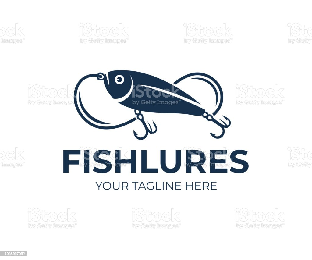 Fishing lures and fish lures, fish, fishing line and hooks, icon design. Animal, wildlife and angling on nature or river, vector design and illustration vector art illustration