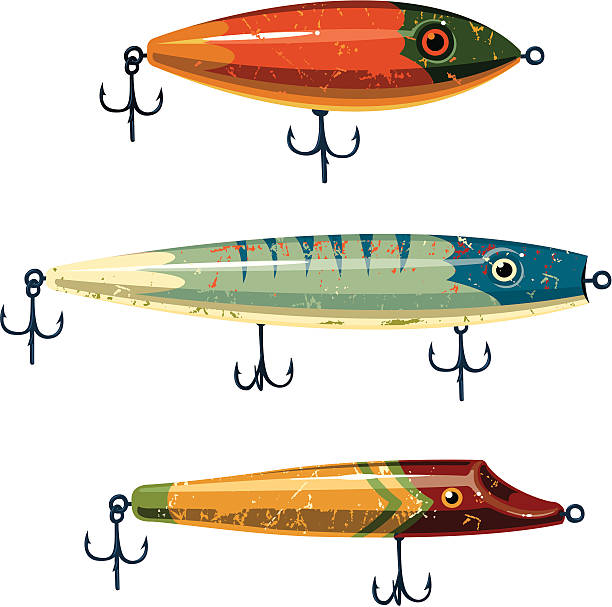 sieć lures - rybactwo stock illustrations