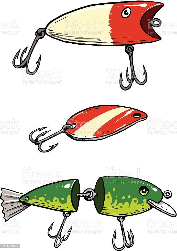 fishing lures stock vector art more images of fish 516876841 istock rh istockphoto com Fishing Lure Silhouette Fishing Lure Border