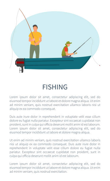ilustrações de stock, clip art, desenhos animados e ícones de fishing man in motorboat with rod or tackle poster - fishman