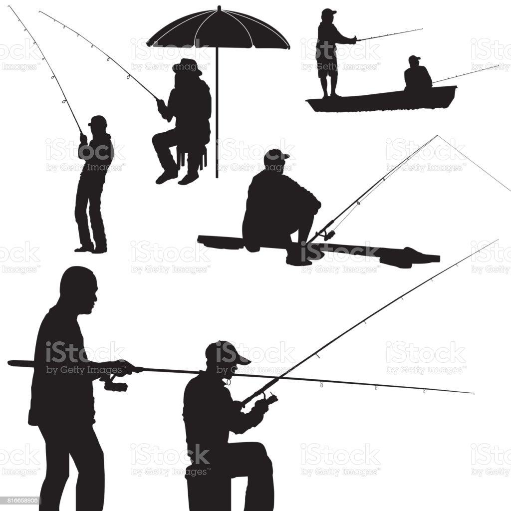 Angeln Mann Silhouette Vektor – Vektorgrafik