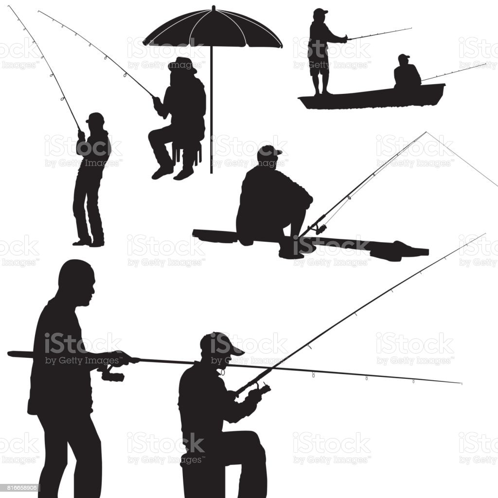fishing man silhouette vector vector art illustration