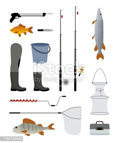 Fishing manufacturers and suppliers icons set. Reel and fishery rod, line spinning bucket fish and floats, tackles bobbins. Waders vector illustration