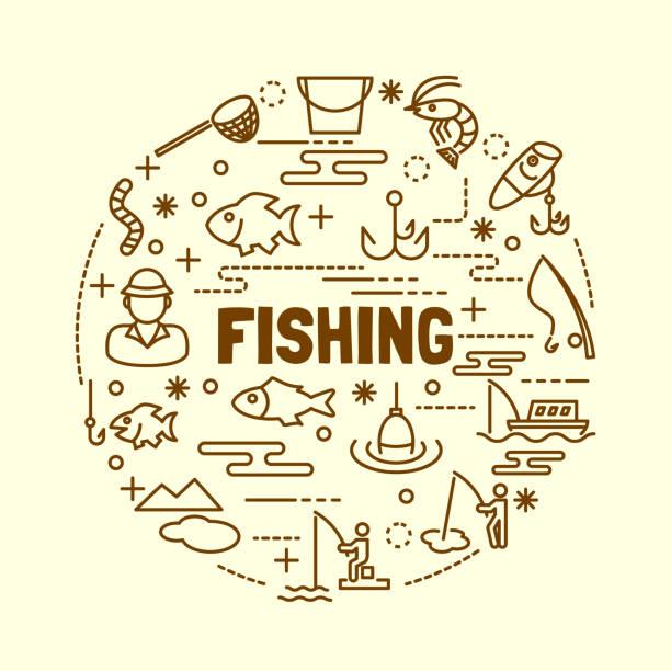 fishing minimal thin line icons set - angelurlaub stock-grafiken, -clipart, -cartoons und -symbole