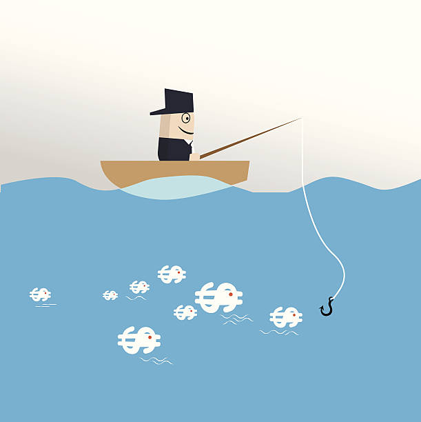 stockillustraties, clipart, cartoons en iconen met fishing money - newspaper beach